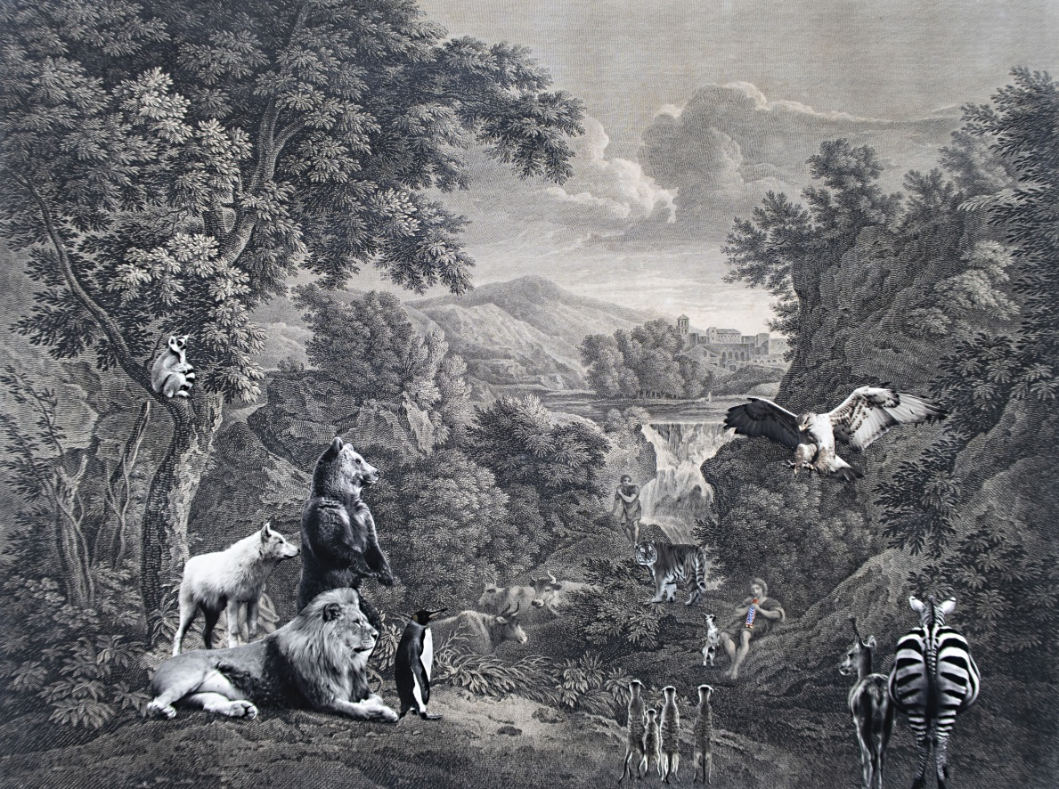 pastoral scene with snickers collage on antique etching 58 x 43cm Kopie